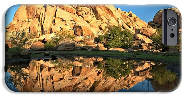 Trees Reflecting In Water iPhone Cases - Desert Oasis Reflections iPhone Case by Adam Jewell