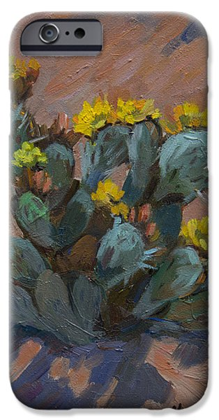 Pears iPhone Cases - Desert Prickly Pear Cactus iPhone Case by Diane McClary