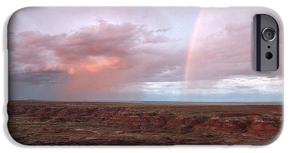 Petrified Forest Arizona iPhone Cases - Desert Rain iPhone Case by Melany Sarafis