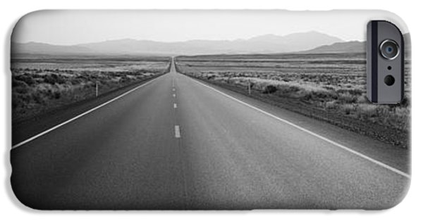 Pathway iPhone Cases - Desert Road, Nevada, Usa iPhone Case by Panoramic Images