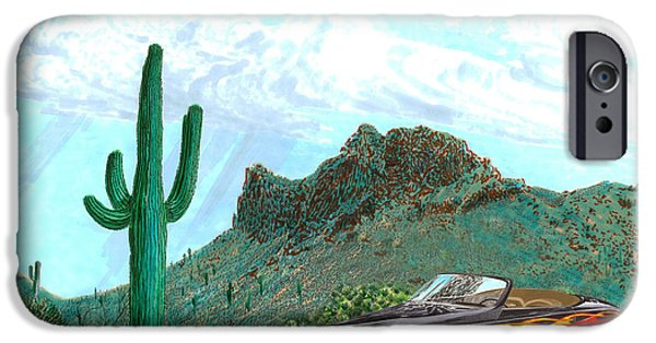 Disc Paintings iPhone Cases - Desert Roadster 34 Ford iPhone Case by Jack Pumphrey