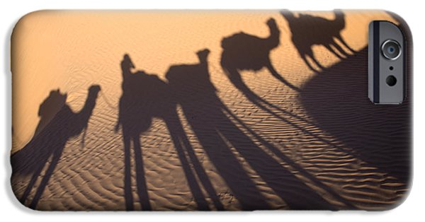 Camel Photographs iPhone Cases - Desert shadows iPhone Case by Delphimages Photo Creations
