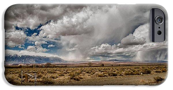 Raining iPhone Cases - Desert Showers iPhone Case by Cat Connor