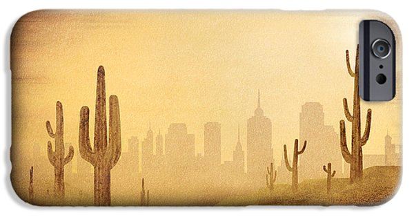 Sand Dunes Mixed Media iPhone Cases - Desert Skyline iPhone Case by Bedros Awak
