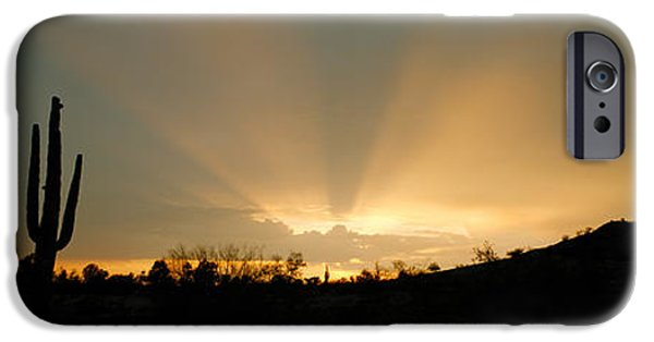 Eternal Inspirational iPhone Cases - Desert Sun Beams, Near Phoenix iPhone Case by Panoramic Images