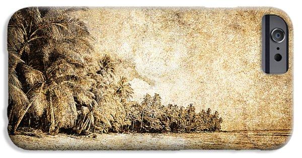 Tree Art Print iPhone Cases - Deserted Beach iPhone Case by Skip Nall