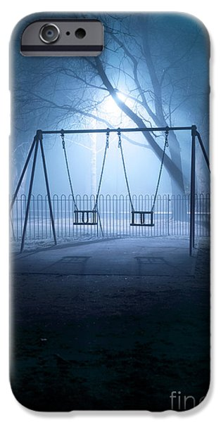 Missing Child iPhone Cases - Deserted Playground Swings In Fog At Night  iPhone Case by Lee Avison