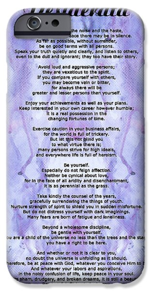 Words On Art iPhone Cases - Desiderata 3 - Words of Wisdom iPhone Case by Sharon Cummings
