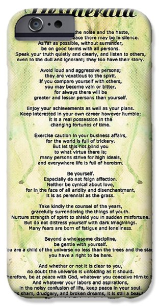 Wisdom iPhone Cases - Desiderata 5 - Words of Wisdom iPhone Case by Sharon Cummings