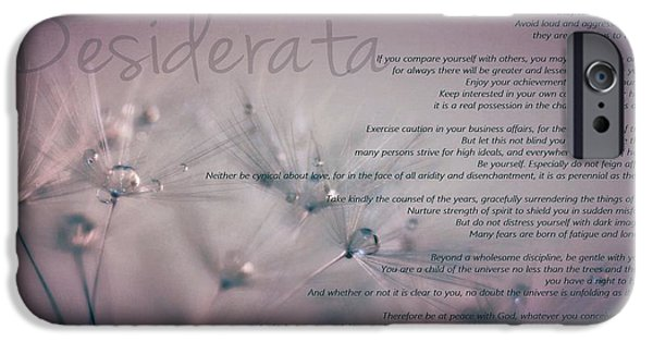 Quotation iPhone Cases - Desiderata - Dandelion Tears iPhone Case by Marianna Mills