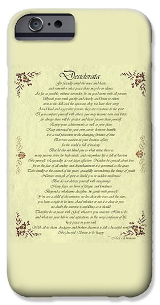 Business Drawings iPhone Cases - Desiderata Gold Bond Scrolled iPhone Case by Movie Poster Prints