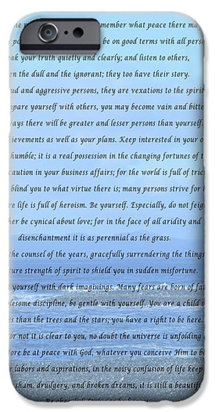 Interior Scene Mixed Media iPhone Cases - Desiderata on Beach and Ocean Scene iPhone Case by Barbara Griffin