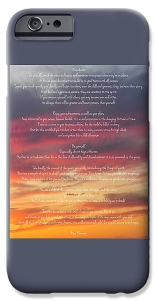 Advice iPhone Cases - Desiderata Sky 2 iPhone Case by Terry DeLuco