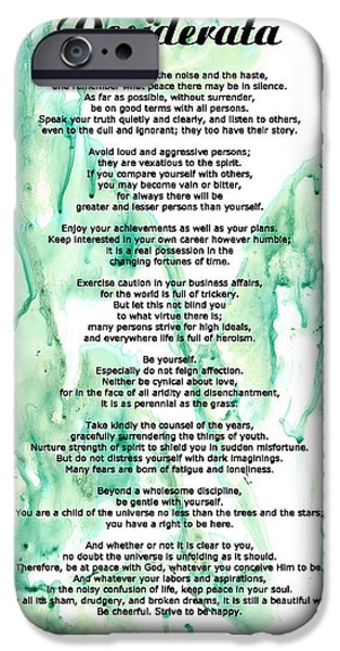 Desiderata - Words of Wisdom iPhone Case by Sharon Cummings