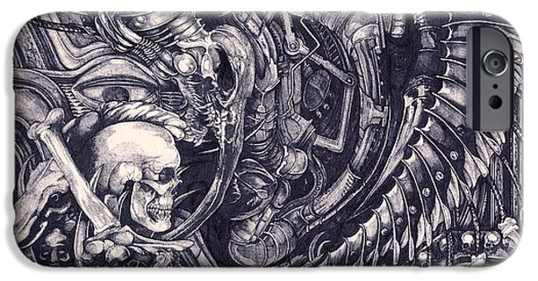 H.r. Giger iPhone Cases - Design-01 iPhone Case by Joseph Capuana