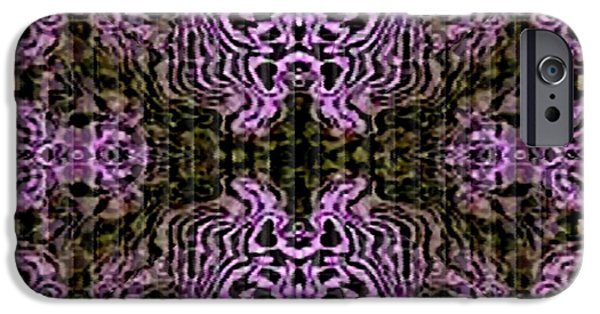Abstract Digital Tapestries - Textiles iPhone Cases - Design 1 Catus 1 H b iPhone Case by Gert J Rheeders