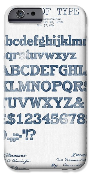 Alphabet iPhone Cases - Design for a Font of  Type Patent Drawing from 1905 -  Blue Ink iPhone Case by Aged Pixel
