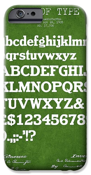 Font iPhone Cases - Design for a Font of  Type Patent Drawing from 1905 - Green iPhone Case by Aged Pixel