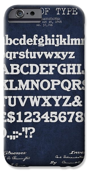 Font iPhone Cases - Design for a Font of  Type Patent Drawing from 1905 - Navy Blue iPhone Case by Aged Pixel