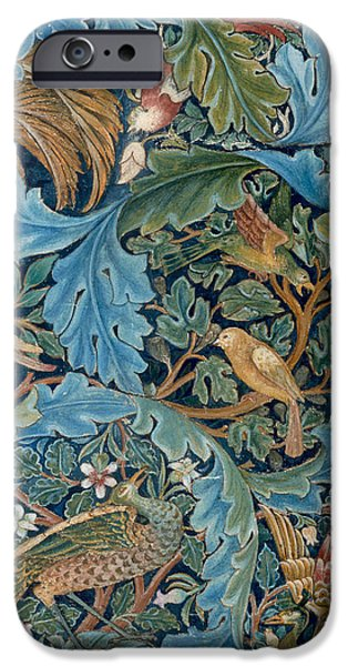 Decorative Drawings iPhone Cases - Design for tapestry iPhone Case by William Morris