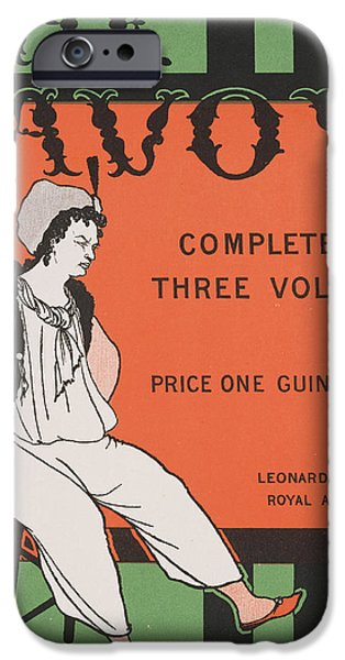 Victorian Drawings iPhone Cases - Design for the front cover of The Savoy Complete in Three Volumes iPhone Case by Aubrey Beardsley
