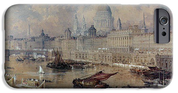 River View iPhone Cases - Design for the Thames Embankment iPhone Case by Thomas Allom