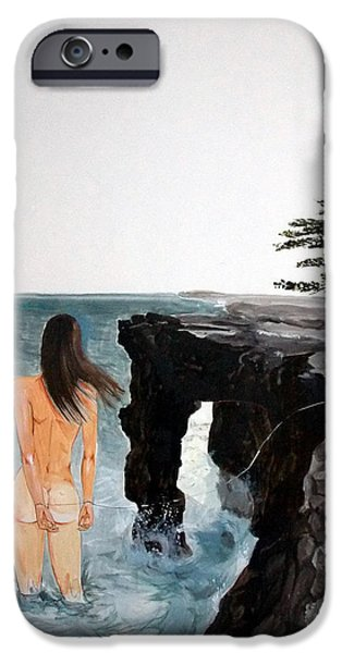 Concept Paintings iPhone Cases - DESTINOS listen with music of the description box iPhone Case by Lazaro Hurtado