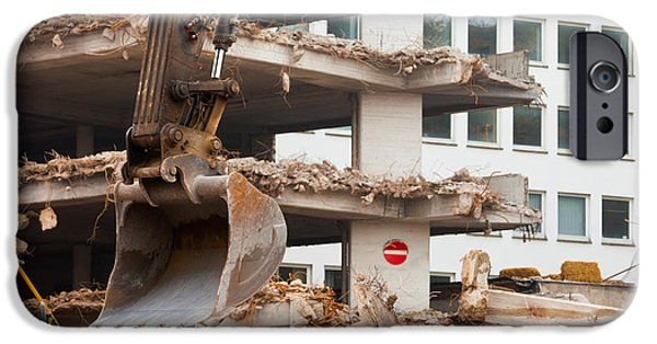 Dismantled iPhone Cases - Destruction of concrete building with equipment iPhone Case by Stephan Pietzko