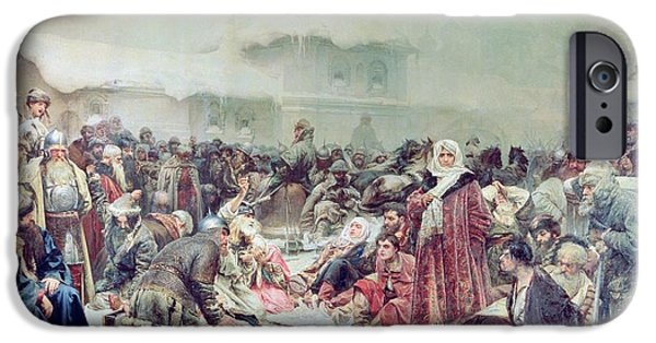 Campaign iPhone Cases - Destruction Of Novgorod By Tsar Ivan Iii 1440-1505 1889 Oil On Canvas iPhone Case by Klavdiy Vasilievich Lebedev