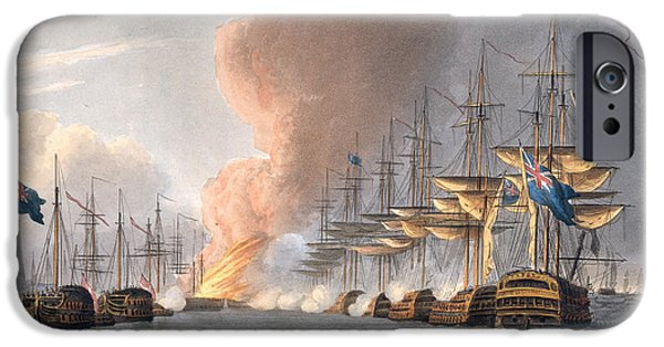 Before The Mast iPhone Cases - Destruction Of The Danish Fleet iPhone Case by Thomas Whitcombe