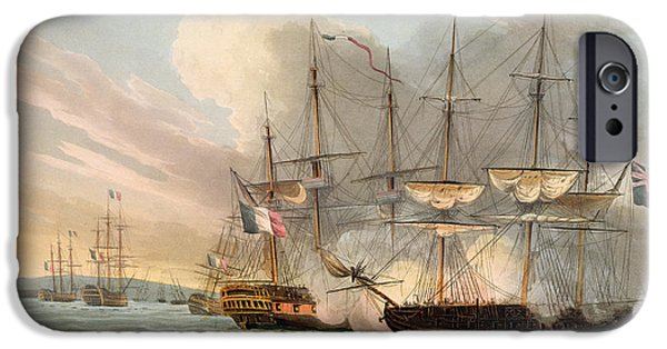 Sailing Drawings iPhone Cases - Destruction Of The French Fleet iPhone Case by Thomas Whitcombe