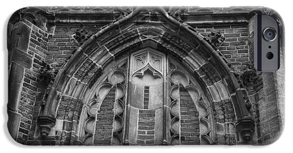 Weathervane Photographs iPhone Cases - Detail Above Door Oude Kerk Amsterdam BW iPhone Case by Teresa Mucha