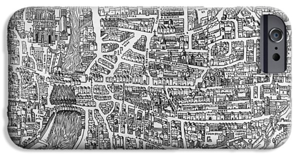 Notre Dame Cathedral iPhone Cases - Detail From A Map Of Paris In The Reign Of Henri Ii Showing The Quartier Des Ecoles, 1552 Engraving iPhone Case by French School