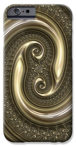 Fractal iPhone Cases - Detail from Repousse in Bronze iPhone Case by John Edwards