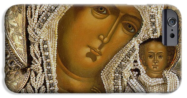 Negro iPhone Cases - Detail of an icon showing the Virgin of Kazan by Yegor Petrov iPhone Case by Russian School