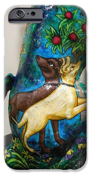 Black Dog Sculptures iPhone Cases - Detail of Hunt For The Unicorn On A Full Moon iPhone Case by Genevieve Esson