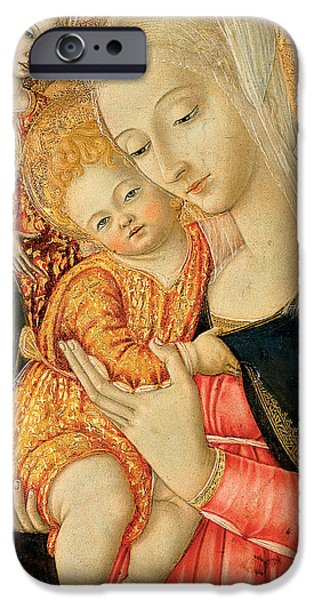 Madonna iPhone Cases - Detail of Madonna and Child with angels iPhone Case by Matteo di Giovanni di Bartolo