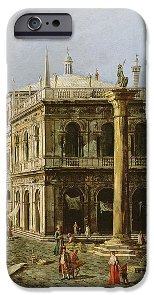 Venetian Balcony iPhone Cases - Detail of Palazzo della Zecca iPhone Case by Michele Marieschi