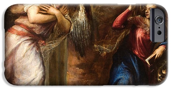 Annunciation iPhone Cases - Detail of The Annunciation iPhone Case by Titian