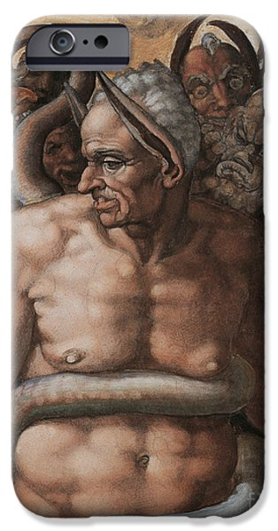 Michelangelo iPhone Cases - Detail of The Last Judgment iPhone Case by Michelangelo