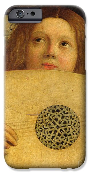 Lute Paintings iPhone Cases - Detail of the San Giobbe Altarpiece iPhone Case by Giovanni Bellini