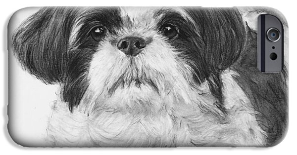 Dog Close-up Drawings iPhone Cases - Detailed Shih Tzu Portrait iPhone Case by Kate Sumners