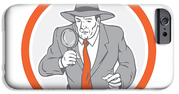 Law Enforcement iPhone Cases - Detective Holding Magnifying Glass Circle Retro iPhone Case by Aloysius Patrimonio