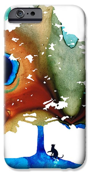 Cat Prints iPhone Cases - Determination - Colorful Cat Art Painting iPhone Case by Sharon Cummings
