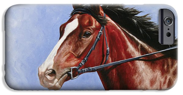 Race Horse Paintings iPhone Cases - Horse Painting - Determination iPhone Case by Crista Forest