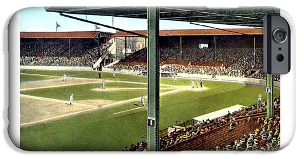 Baseball Stadiums Digital Art iPhone Cases - Detroit - Navin Field - Detroit Tigers - Michigan and Trumbull Avenues - 1914 iPhone Case by John Madison