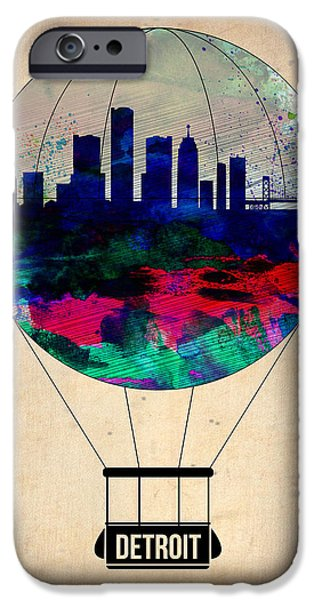 Towns Digital Art iPhone Cases - Detroit Air Balloon iPhone Case by Naxart Studio