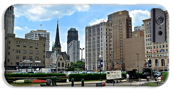 Street Hockey iPhone Cases - Detroit as Seen from Comerica iPhone Case by Frozen in Time Fine Art Photography