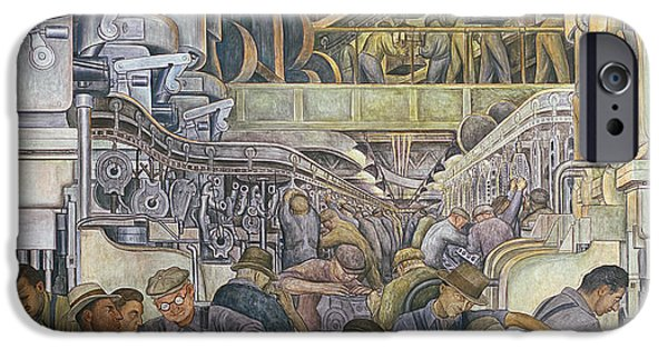 Machinery iPhone Cases - Detroit Industry  North Wall iPhone Case by Diego Rivera