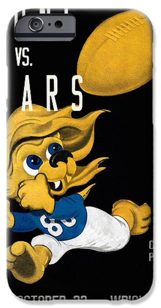 Wrigley Paintings iPhone Cases - Detroit Lions 1954 Vintage Program iPhone Case by Big 88 Artworks